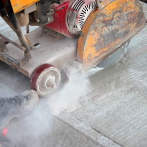 Floor Saw In Use With Diamond Blade