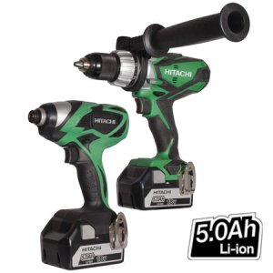 Hitachi KC18DKL/JB 18v 2 Piece Drill Kit with 2 x 5.0 Ah Li-ion Batteries